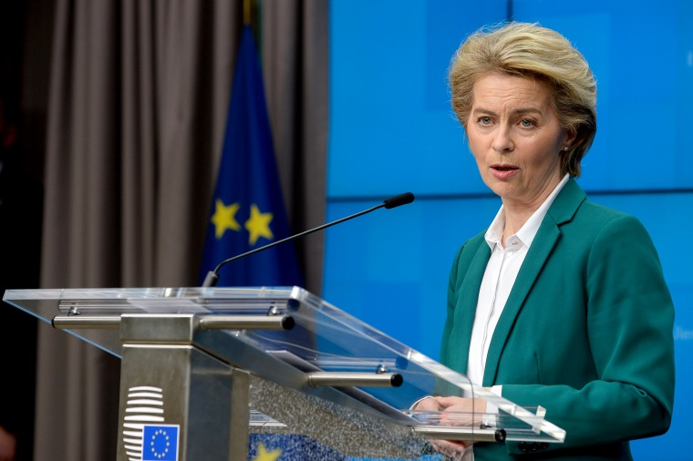Image: European Commission President Ursula von der Leyen and European Council President Charles Michel attend a news conference after the G7 call