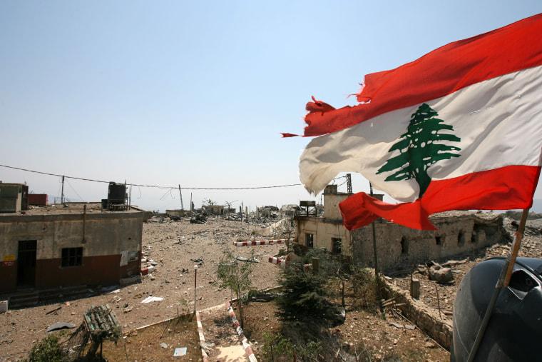Image: Lebanese flag over Khiam Prison