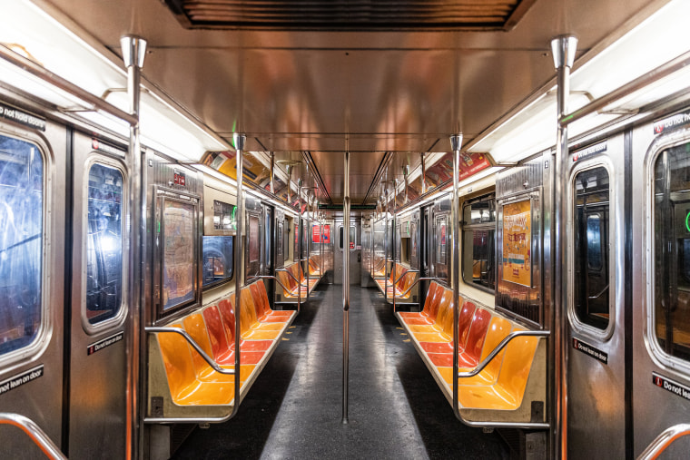 Image: An empty subway train is seen during the outbreak of coronavirus (COVID-19) in New York City