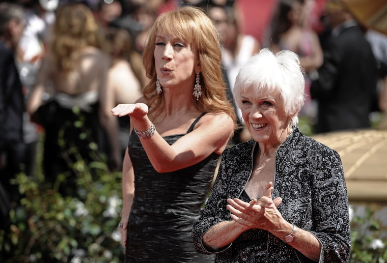 Image: Kathy Griffin and her mother, Maggie, arrive for the Primetime Emmy Awards in Los Angeles in 2010.