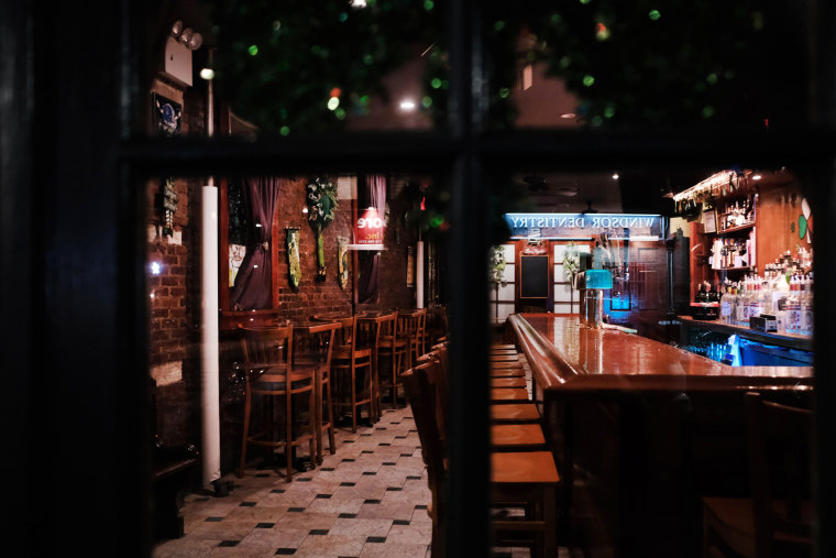 Image: An empty bar in Brooklyn after New York City ordered bars and restaurants to close to slow the spread of coronavirus on March 16, 2020.