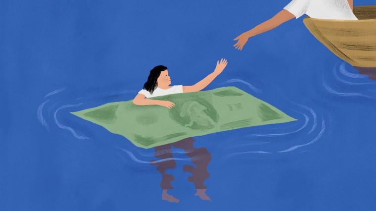 Illustration of person holding onto a paper bill raft as a hand from a boat reaches to help.