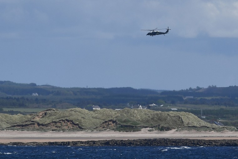 Image: Marine One carrying President Donald Trump and first lady Melania Trump departs Doonbeg Golf course for Shannon airport, in the County Clare village of Doonbeg, Ireland