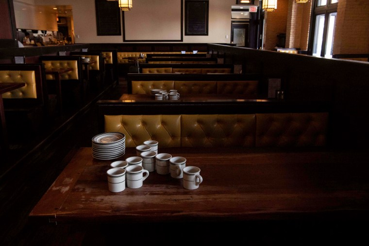 Image: An empty restaurant in Washington on March 18, 2020.