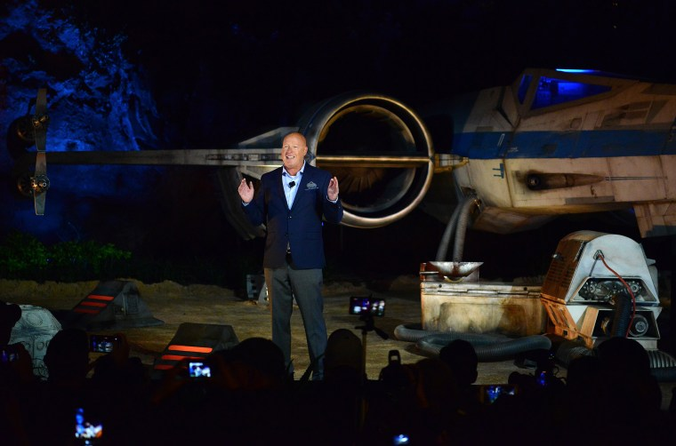 "Bob Chapek during the dedication ceremony for the ""Rise of the Resistance"" attraction opening in Orlando, Fla."