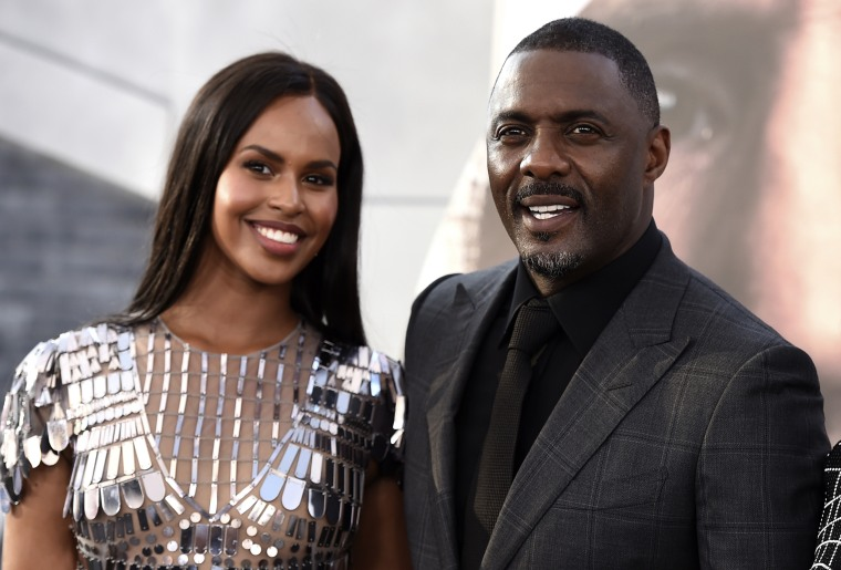 Image: Sabrina Dhowre Elba and Idris Elba arrive at a premiere in Los Angeles in 2019.