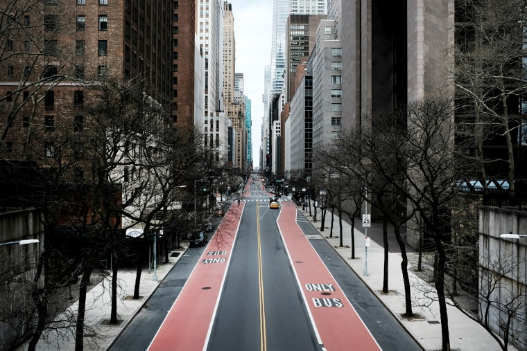 Image: The nearly empty 42nd Street in New York on March 22, 2020.