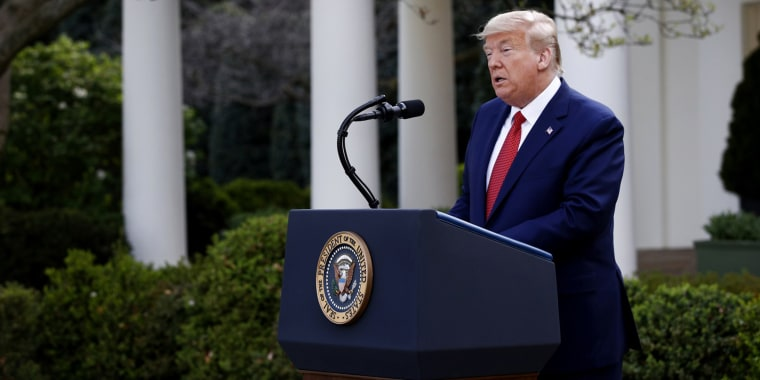 President Donald Trump speaks at a coronavirus task force briefing in the Rose Garden of the White House on March 29, 2020.