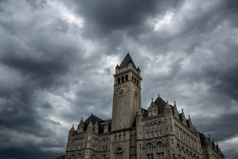 Image: A thunderstorm builds over the Trump International Hotel in Washington, D.C., on June 5, 2018.