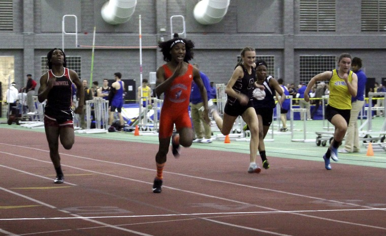 Image: Bloomfield High School transgender athlete Terry Miller, second from left, wins the final of the 55-meter dash over transgender athlete Andraya Yearwood, far left, and other runners in the Connecticut girls Class S indoor track meet at Hillhouse Hi