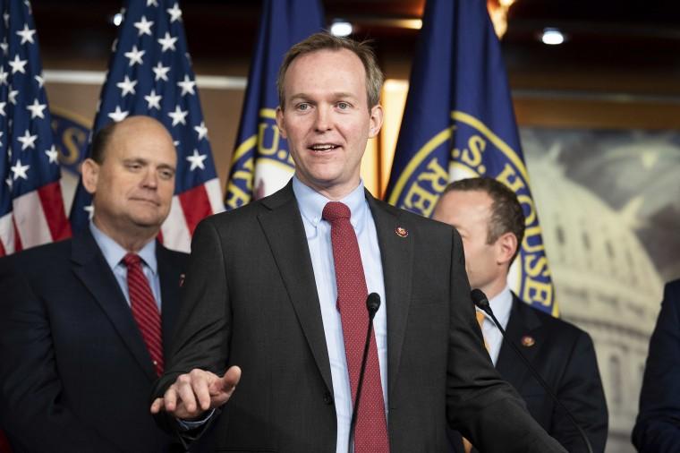 Image: Representative Ben McAdams (D-UT) speaking at a Problem Solvers Caucus press conference