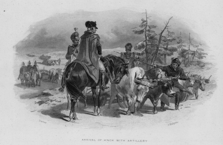 Image: U.S. Secretary of War Henry Knox arrives on horseback with artillery in an engraving made circa 1785-1795 by J. Halpin.