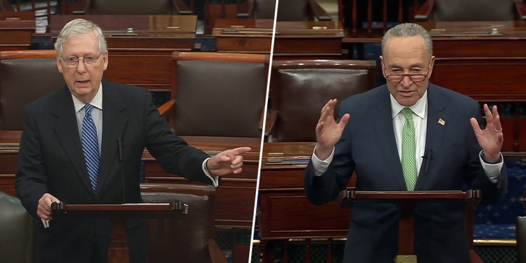 Senate Majority Leader Mitch McConnell, left, and Senate Minority Leader Chuck Schumer speak on Capitol Hill on March 23, 2020.