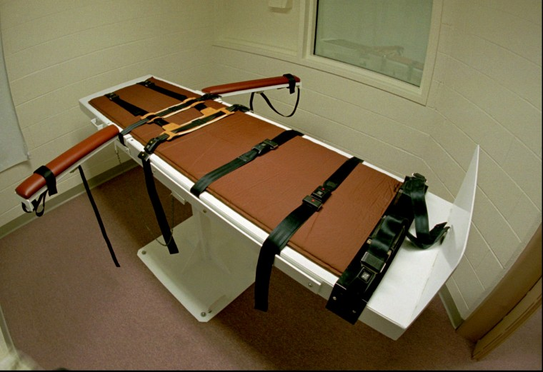 The table on which the convicted murderer Gary Lee Davis was executed in the Colorado State Penitentiary east of Canon City, Colo. on Sept. 24, 1997.