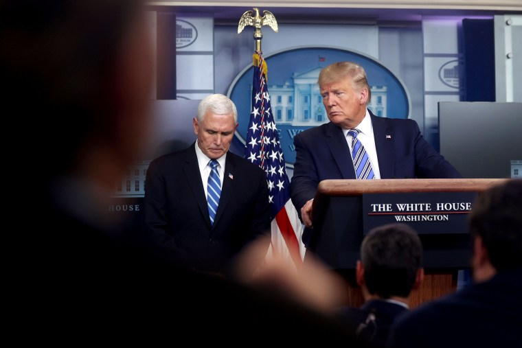 Image: U.S. President Trump, with Pence, leads the daily coronavirus response briefing at the White House in Washington