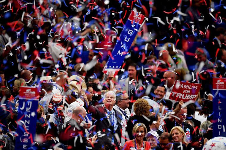 Image: Delegates cheer at the Republican National Convention in Cleveland, Ohio, on July 21, 2016.