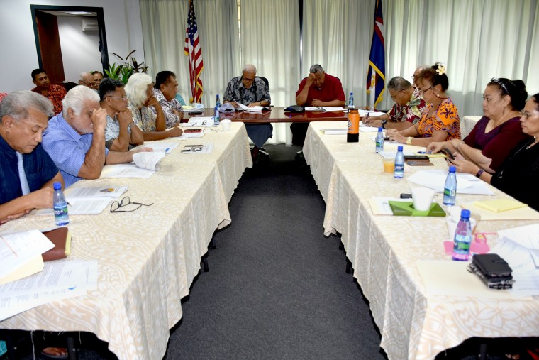 Members of the American Samoa governor's coronavirus task force and working group provide a briefing to Governor Lolo Moliga and Lt. Governor Lemanu Maugu at the Governors Office in Utulei, American Samoa on March 14, 2020.