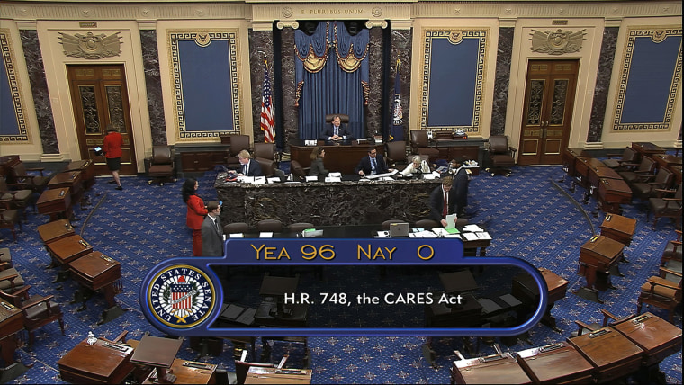 Image: The final vote of 96-0 shows passage of the $2.2 trillion economic rescue package in response to coronavirus pandemic, passed by the Senate at the U.S. Capitol