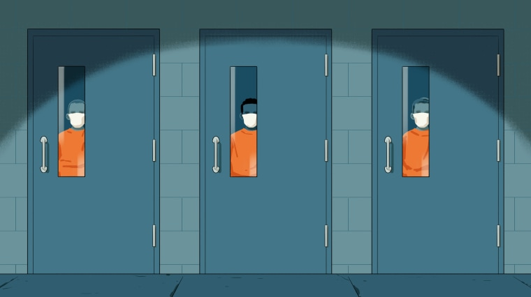 Illustration of children in masks at a juvenile detention center looking out from cell door windows.