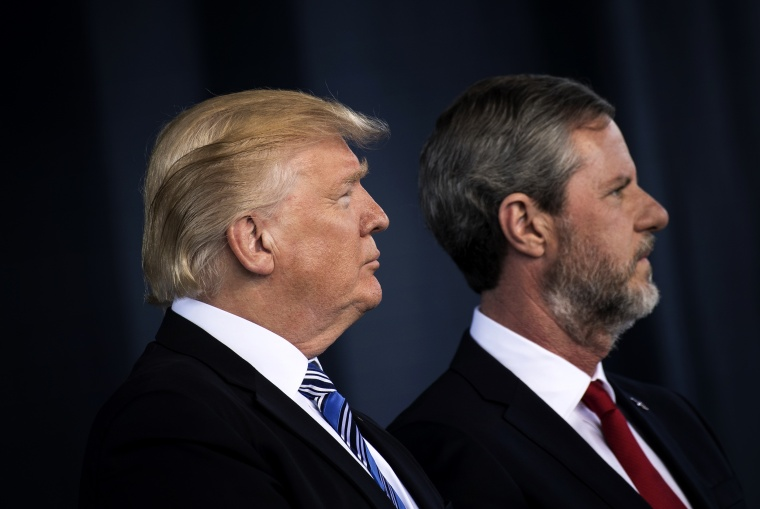 Image: President Donald Trump and Liberty University President Jerry Falwell, Jr., at the university's commencement ceremony in Lynchburg, Va., on May 13, 2017.