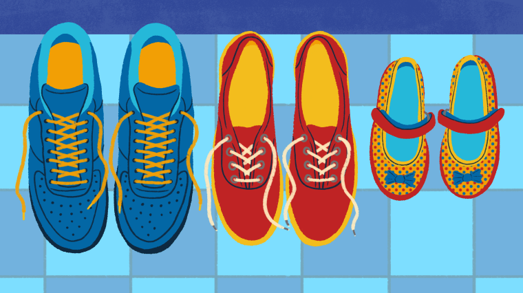 Illustration of two parents' shoes and one child shoes on floor.