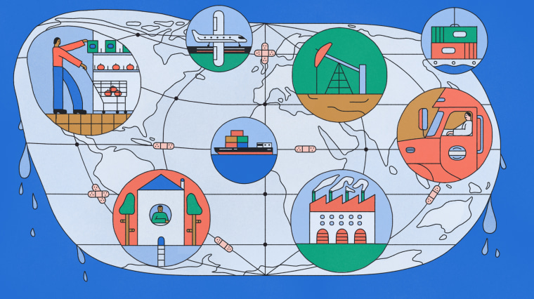 Illustration of globe with bandaids and different scenes of commerce stalling.