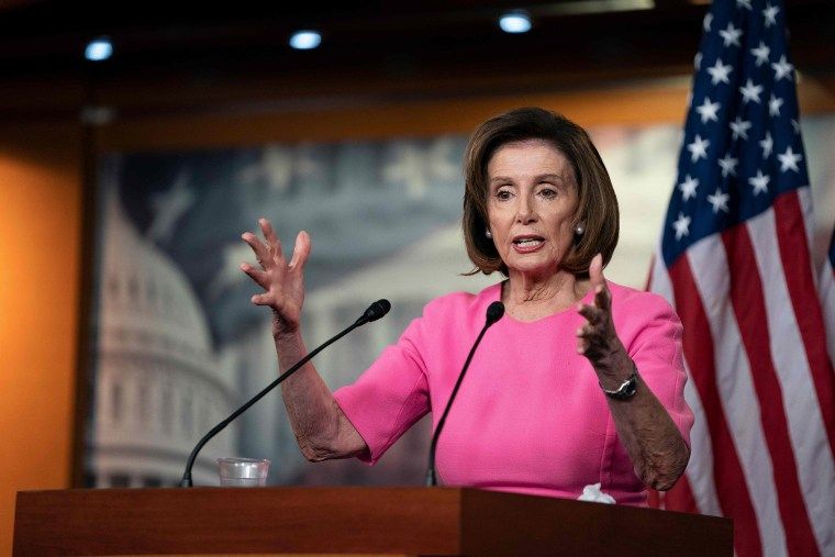 Image: House Speaker Nancy Pelosi speaks with reporters during her weekly press conference at the U.S. Capitol,