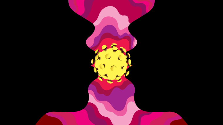 Illustration of two people kissing with a coronavirus cell in between them.