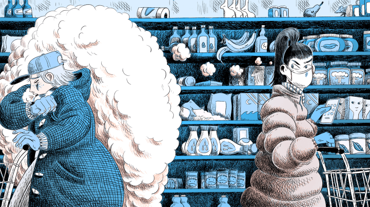 Illustration of woman in mask and gloves side eyeing another woman coughing in a grocery store.