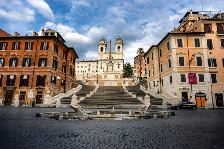 Image: The empty Spanish Steps in Rome during a nationwide lockdown on March 25, 2020.