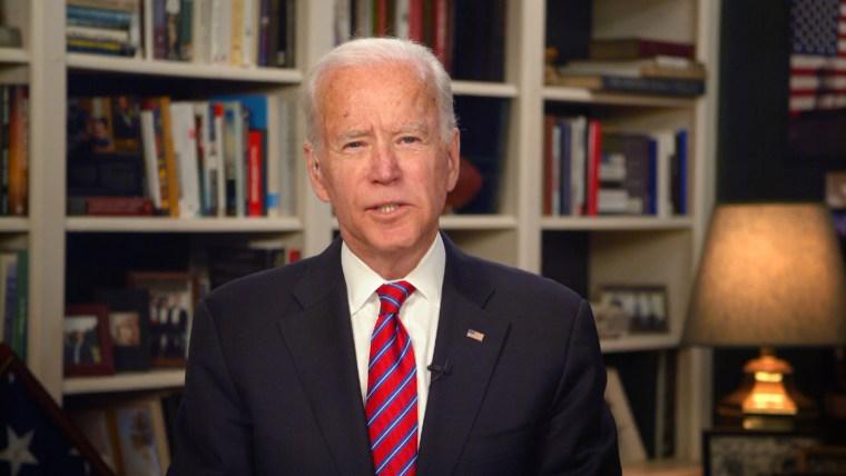 """Image: Joe Biden speaks on \""""Meet the Press\"""" on March 29, 2020."""