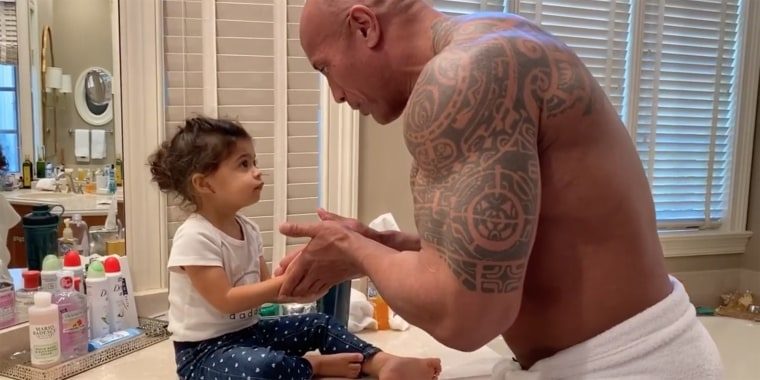"Dwayne Johnson channeled his Maui character from Disney's ""Moana"" to teach daughter Tiana how to wash her hands during the coronavirus pandemic."