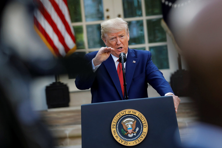 Image: President Donald Trump speaks during a news conference in the Rose Garden of the White House