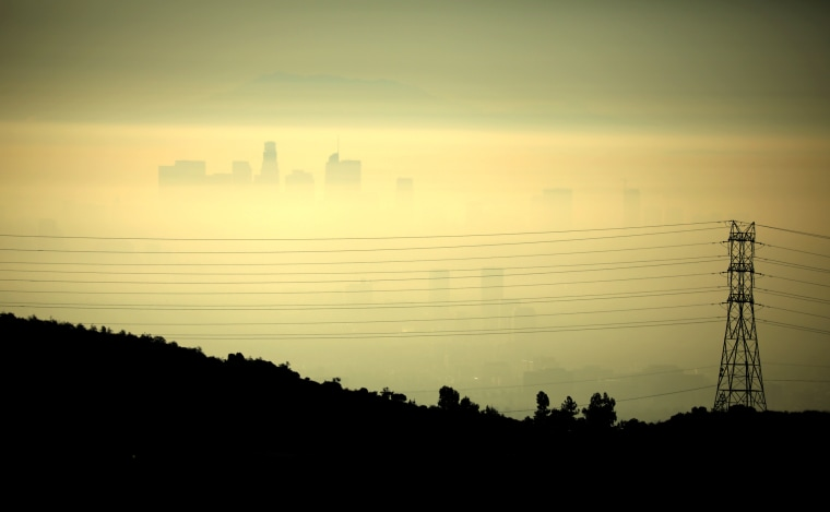 Image: Downtown Los Angeles behind power lines at daybreak in 2019.