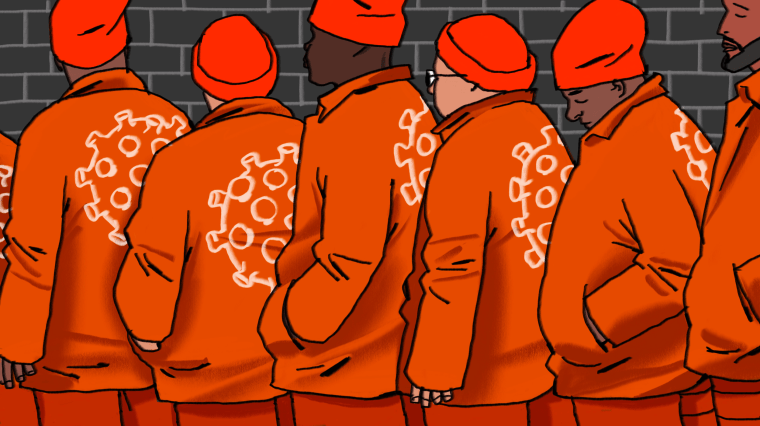 Illustration of incarcerated men in line at a prison with large coronavirus cells drawn on the backs of the jackets.