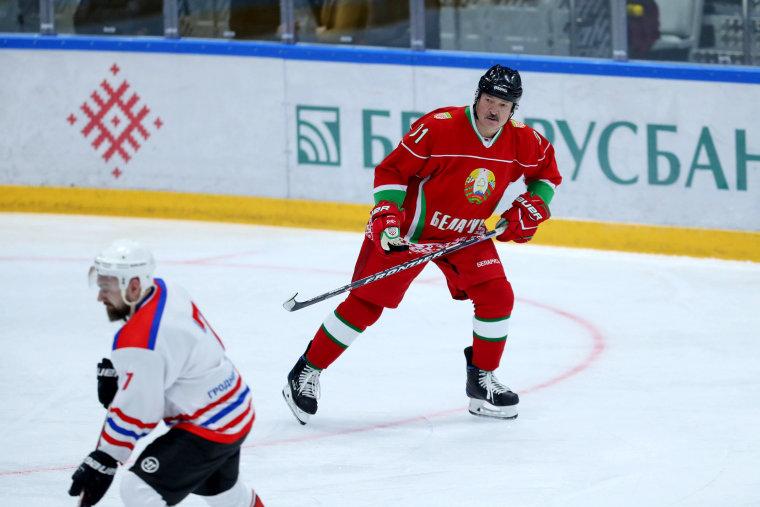 Image: Belarusian President Alexander Lukashenko plays in a hockey game in Minsk on Saturday.
