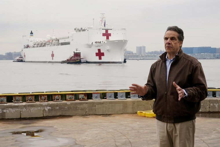 Image: New York governor Andrew Cuomo speaks as the USNS Comfort pulls into a berth in Manhattan during the outbreak of Coronavirus disease (COVID-19), in the Manhattan borough of New York City