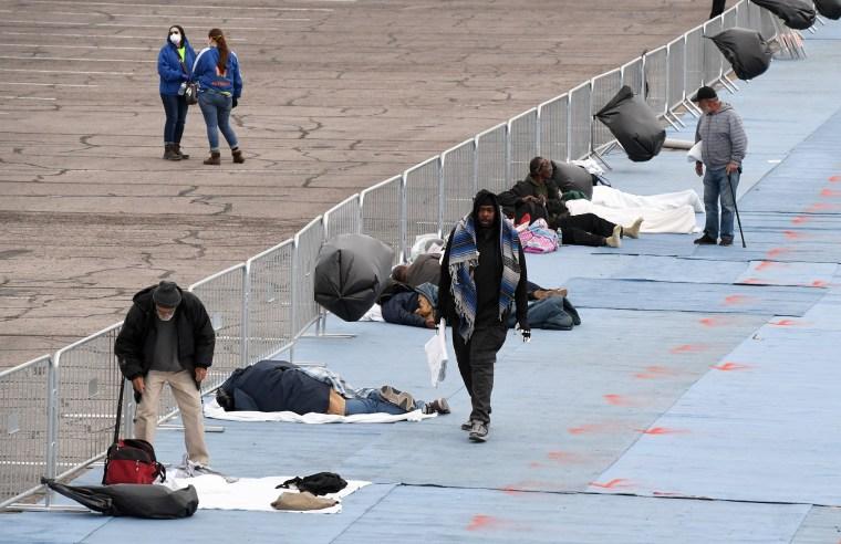Image: Temporary Homeless Shelter Opens At Cashman Center In Las Vegas