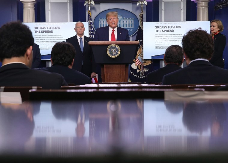 Image: President Donald Trump speaks during the daily coronavirus task force briefing in the Brady Briefing room at the White House