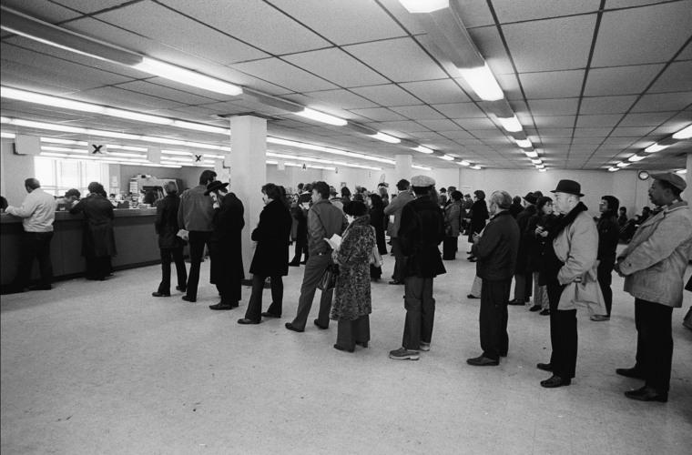 An unemployment line in Brooklyn, N.Y., on March 1974