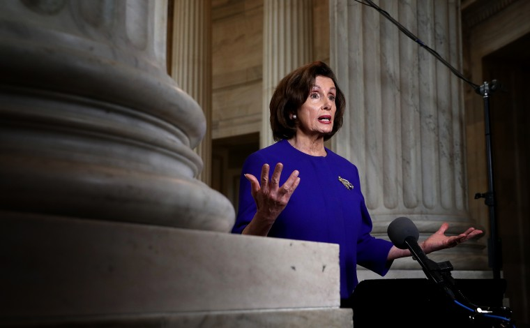 Image: Speaker of the House Nancy Pelosi during an interview at the Capitol on April 1, 2020.