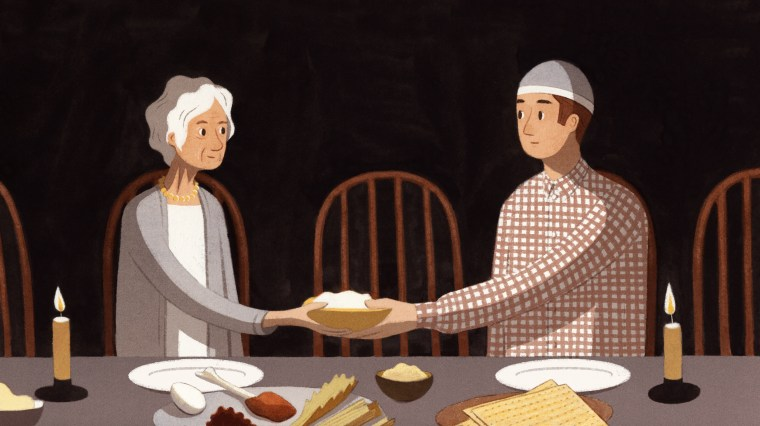 Illustration of two people eating a Passover meal.