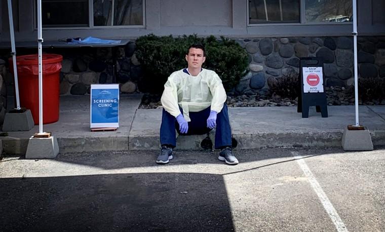 Image: Joseph Pollino outside of a COVID-19 clinic.