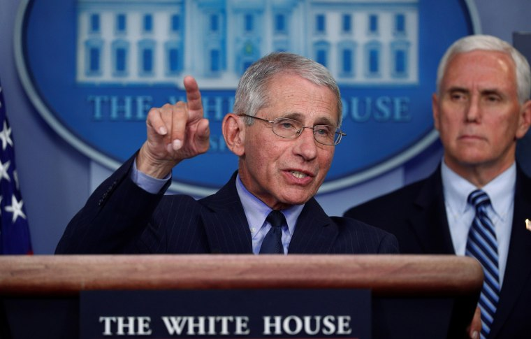 Dr. Anthony Fauci addresses daily coronavirus response briefing at the White House in Washington