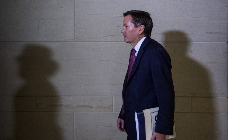 Image: Inspector General Michael Atkinson arrives for a closed-door hearing in Washington on Oct. 4, 2019.