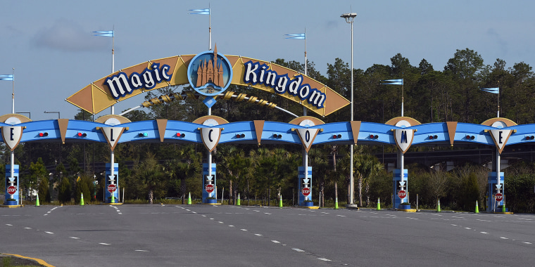 The entrance to the Magic Kingdom at Disney World is seen on
