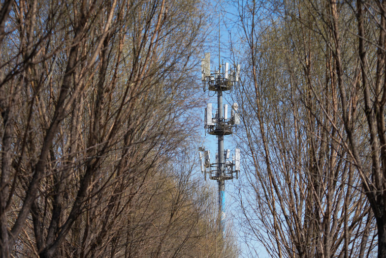 Image: A China Mobile base station, which has been upgraded for 5G network, is pictured on March 10, 2020 in Taiyuan, Shanxi Province of China.