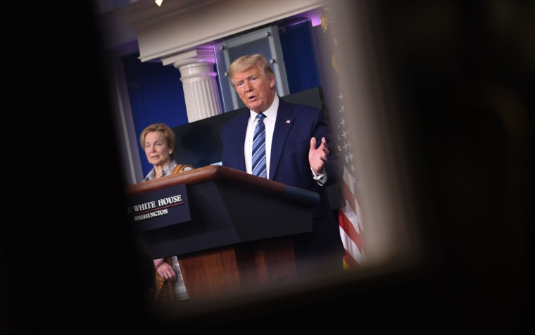 Image: President Donald Trump during a briefing after a Coronavirus Task Force meeting at the White House