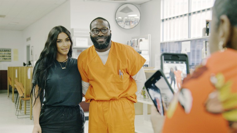 Momolu Stewart with Kim Kardashian West during her visit to D.C. Central Detention Facility. Stewart was serving a life sentence for a murder he committed while he was a juvenile.