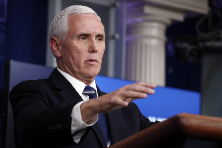Vice President Mike Pence speaks about the coronavirus in the Briefing Room of the White House on April 7, 2020.